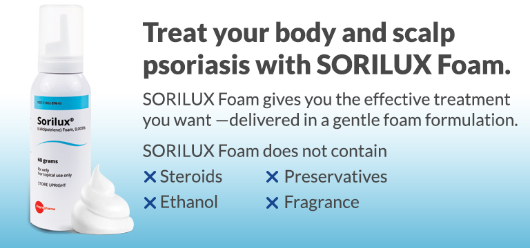 Treat your body and scalp psoriasis with SORILUX Foam. SORILUX Foam gives you the effective treatment you want - delivered in a gentle foam formulation.  Sorilux Foam does not contain steroids, ethanol, preservatives, or fragrance